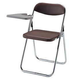 折りたたみ椅子 パイプいす メモ台付きイス バネ座 チェア ビニールレザー張り 3脚セット TPLT-39BL