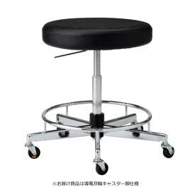 導電チェア 作業用イス 作業スツール 椅子 丸いす 座高ガス上下調節 ワイド座スツールタイプ 導電双輪キャスター付き BA-EH25L
