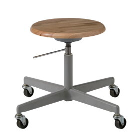 溶接用チェア 丸椅子 鋳物キャスター 木製座 ガス上下調節 特殊作業用チェアー TDL-N5Y