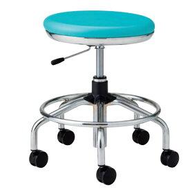 作業用チェア ハイタイプ 丸イス 作業スツール 丸椅子 椅子 座高ガス上下調節 キャスター付き 背無し リング付き TSM-C15