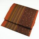 洗える九寸名古屋帯 綿 和モダン 縞柄×波文様 暖色茶系