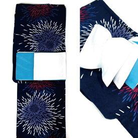 浴衣セット 2点セット 浴衣 ゆかた フリーサイズ すぐに着られます【藍鉄地に花火柄】仕立上り商品 半巾帯 リバーシブル半幅帯【スカイブルー】yus12048