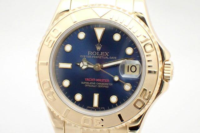 ROLEX ロレックス ヨットマスター 68628 K18YG W番(1994年)ボーイズ 青 腕時計 日ロレOH/仕上済【中古美品】【ロレックス】【金無垢】【K18YG】【ヨットマスター】【68628】【送料無料】