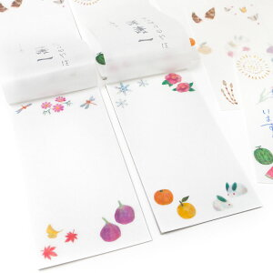 ほんのり透ける一筆箋【春夏秋冬】高筆記性5リーフ