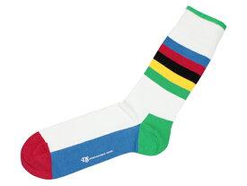DEMOCRATIQUE SOCKS - ORIGINALS BIKE レインボー [デモクラティック ソックス メンズ クルー丈 靴下 Rainbow/Cycling World Champ]