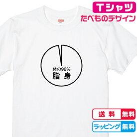 食べ物Tシャツ おもしろTシャツ 円グラフTシャツ 体の98%脂身Tシャツ 全3色 綿Tシャツ 面白Tシャツ 焼肉Tシャツ ホルモンTシャツ おもしろいTシャツ かわいいtシャツ
