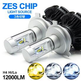 C11系 前期/後期 ティーダ LED ヘッドライト ロービーム/ハイビーム H4 Hi/Lo 切替 50W 12000ルーメン ZESチップ搭載モデル 3色切替  3000K/6500K/8000K