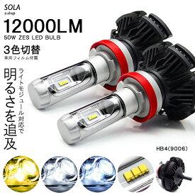 20系 後期 イプサム LED フォグランプ HB4 50W 12000ルーメン 6000lm×2 ZESチップ搭載 デュアル発光 3色切替 3000K/6500K/8000K 車検対応