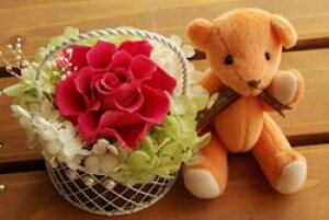 【即納】 プリザーブドフラワー 電報 結婚式 結婚祝い 誕生日プレゼント テディベア オレンジ セレナ カシス プリザ ギフト お祝い 花 ブリザード 開花バラ あじさい かすみ草 くま ベアー