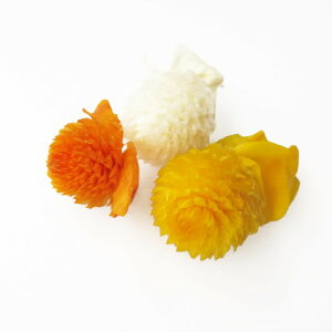 【即納】そらプリ 花材 千日紅アソート オレンジミックス 3輪 小分け 黄色 オレンジ イエロー ホワイト あす楽 ハーバリウム ドライフラワー プリザーブド ハンドメイド プレゼント 結婚祝