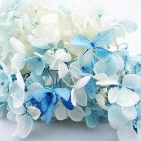 【即納】 プリザーブドフラワー ソフトピラミッド アジサイ 小ぶり スフレ ブルー ホワイト 小分け 花材 プリザ ギフト インテリア プレゼント 結婚祝い フレッシュ シンプル 大地農園