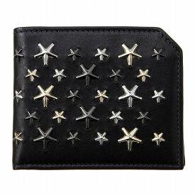 ジミーチュウ 財布 二つ折り財布 ALBANY LTR アルバニー 星型 スタッズ メンズ ブラック JIMMY CHOO