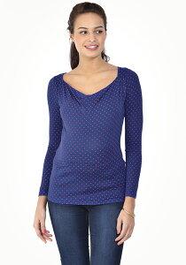 Pomkin 2in1<授乳対応>マタニティシャツ PRISCA -ブルー/レッドスター