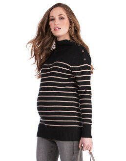 Seraphine LOIS nursing knit sweater - black / camel