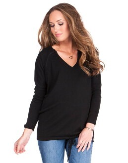 Seraphine OLIVE extra Fine merino wool nursing knit sweater - black
