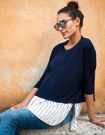 Seraphine LYLA <授乳対応>レイヤードマタニティシャツセーター -ネイビーストライプ