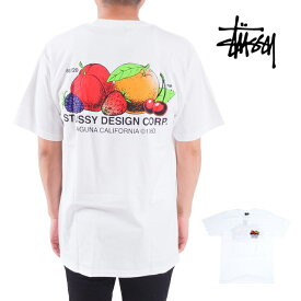STUSSY ステューシー FRESH FRUIT TEE 白 ホワイト フルーツ 果物 Tシャツ カットソー 半袖 S M L LL XLサイズ 男性 メンズ 女性 レディース トップス 大きいサイズ  USAモデル