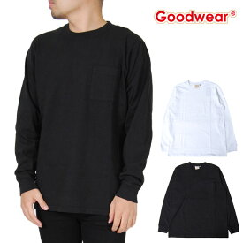 グッドウェア 長袖Tシャツ ロンT メンズ コットン ポケットTEE M L XLサイズ ブラック ホワイト 黒 白 ポケT トップス 男性 グッドウエア Goodwear WORKWEAR POCKET LONG SLEEVE T-SHIRT LS TEE GOOD WEAR