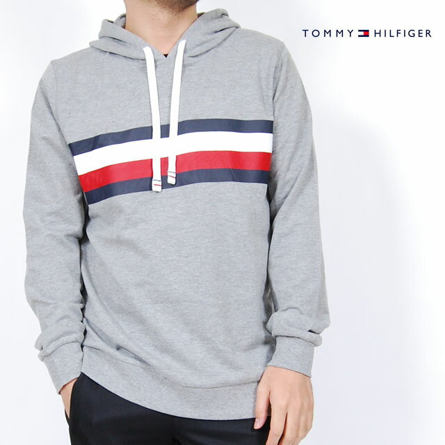 USモデル トミーヒルフィガー TOMMY HILFIGER ロゴ プリントフード ロングTシャツ パーカー プルオーバーパーカー ロンT グレー メンズ 男性 トップス 長袖 Tシャツ TOMMYHILFIGER SLEEPWEAR ルームウェア スリープウェア