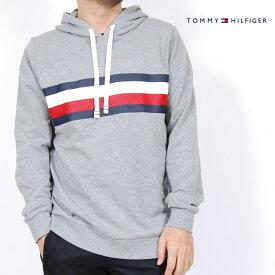 USモデル トミーヒルフィガー TOMMY HILFIGER ロゴ プリントフード ロングTシャツ パーカー プルオーバーパーカー ロンT グレー メンズ 男性 トップス 長袖 Tシャツ TOMMYHILFIGER SLEEPWEAR ルームウェア スリープウェア 部屋着