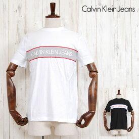Calvin Klein Jeans カルバン クライン ジーンズ OUTLINE LOGO BOX CREW NECK TEE CK プリント クルーネック 半袖 Tシャツ カットソー ホワイト 白 ブラック 黒 メンズ 男性 レディース 女性 ブランド アメカジ カジュアル