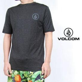 USモデル ボルコム ラッシュガード VOLCOM LIDO HEATHER S/S ルーズ フィット 半袖 UV対策 紫外線対策 トップス チャコール ロゴ メンズ 男性 レディース 女性 サーフシャツ UVカット 海 川 プール 水着 Tシャツ ヴォルコム S M Lサイズ