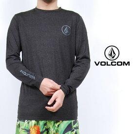 USモデル ボルコム ラッシュガード VOLCOM LIDO HEATHER L/S ルーズ フィット 長袖 UV対策 紫外線対策 トップス チャコール ロゴ メンズ 男性 レディース 女性 サーフシャツ UVカット 海 川 プール 水着 Tシャツ ヴォルコム S M L XLサイズ