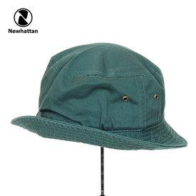 バケットハット メンズ レディース NEWHATTAN BUCKET HAT ニューハッタン コットン 男性 女性 小物 アクセサリー 帽子 キャップ ハット フェス アウトドア 釣り キャンプ DARK GREEN ダークグリーン 緑