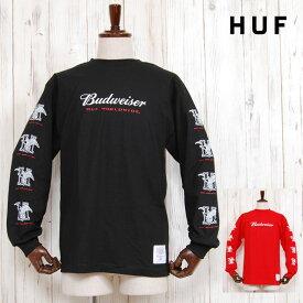 HUF×BUDWEISER ハフ バドワイザー イーグル ロゴ Tシャツ EAGLE L/S TEE BLACK RED 長袖 コラボ ロンT トップス レッド 赤 ブラック 黒 メンズ 男性 レディース 女性 カジュアル ストリート ブランド TOPS