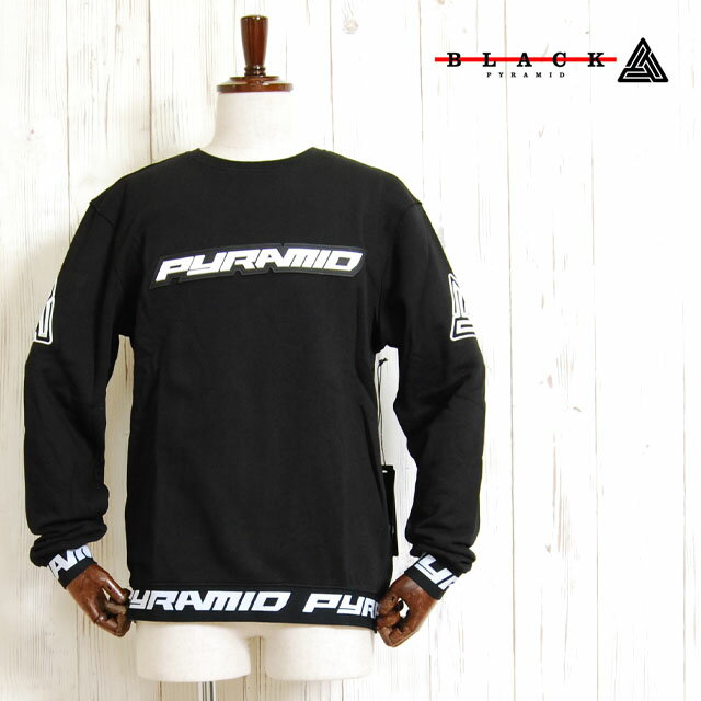 BLACK PYRAMID ブラックピラミッド ルーネック プルオーバー スウェット シャツ Crew neck Pullover Logo Sweatshirt BLACK クトップス ブラック 黒 メンズ 男性 BlackPyramid