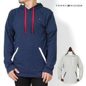 トミーヒルフィガー ロンT パーカー メンズ S M L XLサイズ グレー ネイビー レディース 長袖Tシャツ ルームウェア スリープウェア 薄手 フラッグ刺繍 TOMMY HILFIGER USモデル