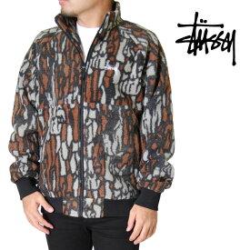 STUSSY ステューシー フリースジャケット メンズ S M L XL XXL 2L 3Lサイズ ブラウン ボアジャケット マルチカラー アウター TREE BARK FLEECE JACKET BROWN 大きいサイズ 2XL