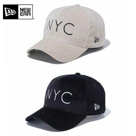 NEWERA ニューエラ 9FORTY A-Frame コーデュロイ NYC ロゴ ライトベージュ ブラック スナップバックキャップ SNAPBACK CAP 940 メンズ 男性 レディース 女性 帽子 ハット 小物 送料無料 NEW ERA