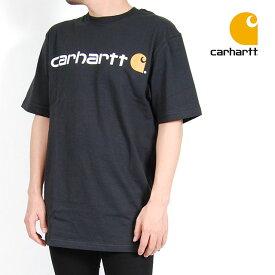 USモデル Carhartt カーハート 半袖Tシャツ SIGNATURE LOGO SHORT SLEEVE T-SHIRT SS TEE BLACK ロゴ ブラック 黒 トップス メンズ 男性 レディース 女性 大きいサイズ ワーク ブランド S M L XL XXLサイズ