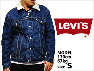 LEVI's RELAXED SHERPA TRUCKER JACKET 72336-0001 Levi's Deluxe Sherpa Tracker jacket mens men tops outer G Jean jumper with Boa indigo blue blue denim fabric men casual brands