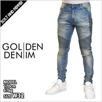 GOLDEN DENIM黄金的粗斜纹布THE HERITAGE BIKER PANTS JACOB DENIM heriteijibaikapantsudenimumenzu男性底锡波恩跑步HIPHOP嘻哈街道GOLDENDENIM黄金的粗斜纹布