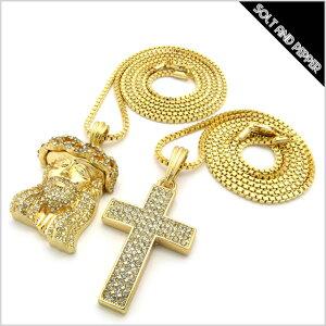 NO BRAND CROSS JEASUS NECKLACE GOLD 2個セット ノーブランド クロス 十字架 ジーザス 2連 ネックレス ゴールド チェーン 金 男性 メンズ 女性 レディース アクセサリー 小物 HIPHOP ヒップホップ OLD SCHOOL