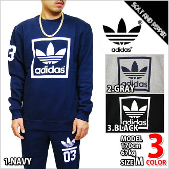 ADIDAS ORIGINALS 3FOIL CREW NECK NAVY BLACK GRAY WHITE adidas originals crewneck Navy black grey white white blue black ash men's male tops trainers back brushed long sleeve sweat sports brand trefoil