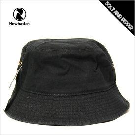 【ネコポス送料無料】バケットハット メンズ レディース NEWHATTAN BUCKET HAT BLACK ニューハッタン コットン バケットハット ブラック 黒 メンズ 男性 レディース 女性 小物 アクセサリー 帽子 キャップ ハット 1500