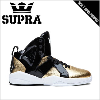 SUPRA Supra運動鞋FOOTWEAR SPECTRE MAGAZINE BLACK WHITE GOLD supurafuttoueamagajimburakku黑白白黄金錢人男性女士女性溜冰鞋鞋街道溜冰休閒名牌高cut SP75060