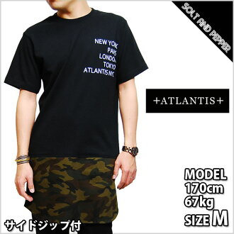 Stylish side dip ATLANTIS CAMO SKIRT TEE BLACK Atlantis Camo camouflage long-length T shirt skirt Black Black bandana Paisley short sleeve leather skin men men ladies women HIPHOP hip hop street brand store