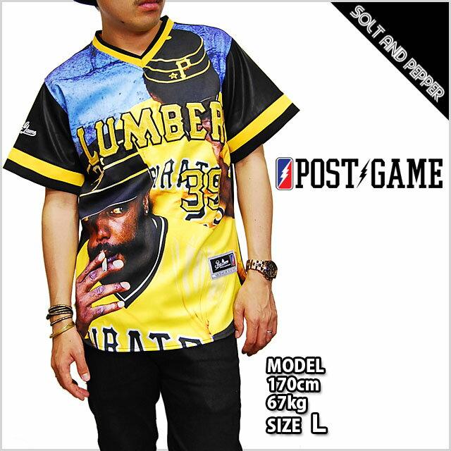 ポストゲーム ベースボールジャージ POST GAME PAKER39 BASE BALL JERSEY TEE BLACK YELLOW BLUE レザー ベースボールシャツ メンズ 男性 レディース 女性 ブラック 黒 イエロー 黄 ブルー 青 半袖 トップス 合皮 革 総柄 POSTGAME