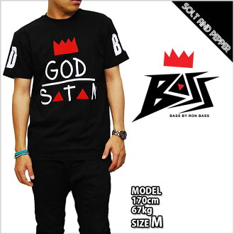 BASS BY RON BASS GOD OVER SATAN TEE BLACK RED Rhombus God over Satan T shirt tops black black red red logo mens Womens unisex unisex HIPHOP hip hop dance costume BASSBYRONBASSBASS