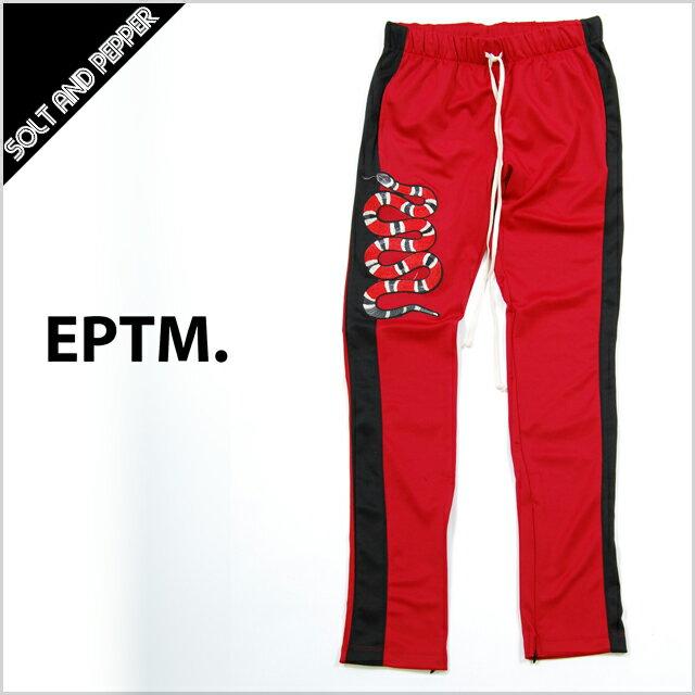 【送料無料】EPTM エピトミ TECHNO TRACK PANTS SNAKE RED BLACK WHITE スネーク 蛇 ヘビ パッチ テクノ トラックパンツ スキニー 細身 スリムパンツ ジャージ メンズ 男性 レディース 女性 レッド 赤 ブラック 黒 ホワイト 白 レッド 赤