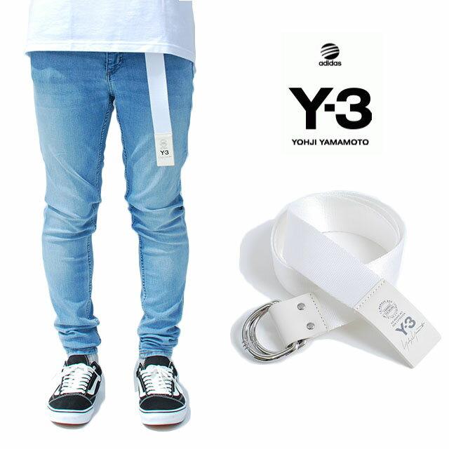 Y-3 adidas×Yohji Yamamoto Y3 LOGO BELT WHITE ワイスリー アディダス ヨージヤマモト ロゴ リング ベルト ホワイト 白 メンズ 男性 小物 牛革 アクセサリー ストリート ワンポイント