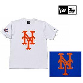 NEWERA ニューエラ アパレル COTTON TEE MLB NEW YORK METS BIG LOGO WHITE ROYALBLUE コットン Tシャツ ニューヨーク・メッツ ビッグロゴ トップス 半袖 ホワイト 白 ロイヤルブルー 青 プリント メンズ レディース 男女兼用 ユニセックス NEW ERA