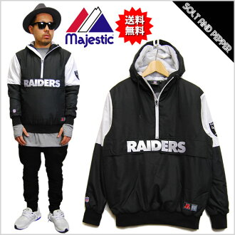 MAJESTIC ATHLETIC OAKLAND RAIDERS JACKET BLK WHT majiesutikkuasuretikku NFL奥克兰奇兵队套衫NM23-OLR-0013-BLK1