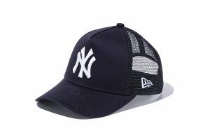 キッズモデル NEWERA ニューエラ Kid's 9FORTY A-Frame Trucker ニューヨーク・ヤンキース ネイビー × スノーホワイト 紺 白 スナップバック トラッカー キャップ 帽子 メッシュキャップ 子供 男の