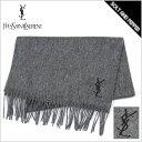 YvesSaintLaurent YSL ONE POINT LOGO SCARF GRAY × BLACK イヴサンローラン ワンポイント ロゴ マフラー グレー 灰 …