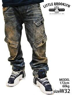 LITTLE BROOKLYN DENIM PANTS LES-CARGO小布鲁克林没有的货物漂白洗涤牛仔裤牛仔裤牛仔裤牛仔裤大的尺寸BIG BIC